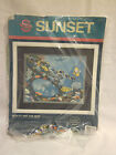 Dimensions or Sunset Cross-stitch Crewel Kit Cardinal Dogwoods Tiger Reef Sea
