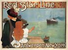 Vintage Advertisment Poster Red Star Line WIA113 Art A4 A3 A2 A1