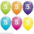 "5 Qualatex 11"" Helium Quality 5th Birthday Party Balloons Age 5 Many Colours"