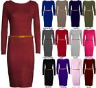 NEW WOMEN LADIES STRETCHY JERSEY BELTED LONG SLEEVE BODYCON MAXI MIDI DRESS 8-14