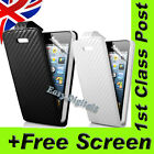 NEW CARBON FIBRE LEATHER FLIP CASE WALLET POUCH COVER FOR IPHONE 5 WITH SCREEN