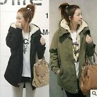 Top Womens Thicken Fleece Warm Winter Coat Zip Hooded Parka Overcoat Long Jacket