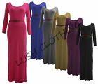 24A-JERSEY MAXI BELTED STRETCH PLAIN LONG SLEEVE FULL DRESS-SIZE 8,10,12,14-NEW
