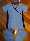 Fior Stretch Stylish Nursing Scrubs Set Ceil Blue Black Spandex XS S M L XL 2XL