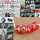 Mix Colors Murano Glass Faceted Rondelle Silvery Charms European Bracelet Beads