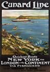 Cunard Line Fishguard, New York to London. Sercombe & Hayes Travel Poster print