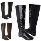LADIES KNEE HIGH WOMENS ELASTIC STRETCH ZIP GUSSET WINTER LOW HEEL RIDING BOOTS