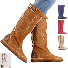 womens ladies studded buckle detail two tone pull on knee high boots 5 colors
