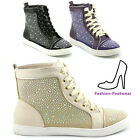 LADIES SNEAKERS FLAT LACE UP DIAMANTE ANKLE WOMENS HIGH TOP TRAINERS 3-8