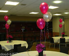 Hot Pink & Silver Birthday Balloon Cluster Party Kit - Ages 18 21 25 30 40 50 60