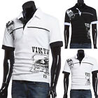 NEW Men's Slim Striped T-shirt Tops Long Sleeve POLO Golf Shirts Casual Shirts