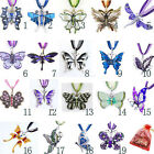 Butterfly Necklace Lady/Girl Chains Holder Rhinestone Alloy Enamel +Free Bag