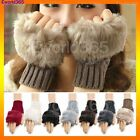 Women Ladies Fingerless Fur Winter Warm Wrist Knitted Wool Mitten Gloves