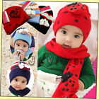 Boys/Girl's Kids Baby Winter Warm Ladybug LadyBird Hat Cap+Scarf Suit Beanie Set