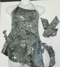 NWT SILVER GLITTER SEQUIN ASYMMATRICAL DRESS DANCE CHILD ADULT SIZE CONTEMPORARY