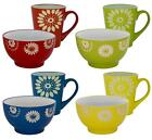 Ceramic Set Of Multicolour Bowls And Mugs Cereal Breakfast Food Dinner Drinks