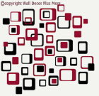 """Funky R/ Squares Wall Stickers Vinyl Decal 6"""" 2color Retro Mod Shapes Peel-n-Stk"""