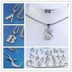 Silvery A-Z Letter Stainless Steel Initial Alphabet Pendant Ball Chain Necklace