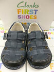 "Clarks Infant Boys Navy Leather Sandal Shoe ""Sunston Fst"" F-Fitting"