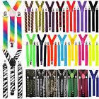 BRACES SUSPENDERS ADJUSTABLE PLAIN NEON SKULL PIANO MEN WOMENS UNISEX NEW