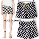 New Women Summer Vintage Color Blocking Geometric Printed Check Shorts Pants