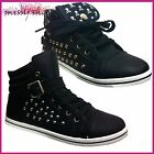 WOMENS LADIES GIRLS FLAT LACE UP SPORTS HIGH HI TOP PUMPS TRAINERS SHOES SIZE3-8