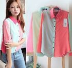 Womens Chiffon Block Color Long Sleeve OL Lapel Button Down Shirt  Blouse Tops