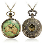 Retro Antique Bronze Clock Chain Necklace Pendant AU Map Quartz Pocket Watch