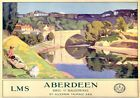 Aberdeen, Brig o'Balgownie. LMS Vintage Travel poster by Algernon M Talmage 1924
