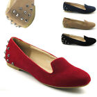 NEW WOMENS FLAT STUDDED LOAFERS LADIES SUEDE PUMPS SLIPPERS CASUAL SHOES SIZE