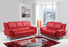 Global Furniture Chic Modern U9908 Red Bonded Leather Sofa Set Contemporary