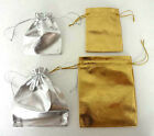 12/25/50/100PCS Gold/Silver Metallic Fabric Pouches Gift Bag 9x7cm 12x9cm AH0307