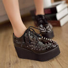 Womens Red Black Creeper Flat Patent Leather Rivet Wedge Platform Lace Up Shoes