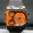 Oulm Men Russia Military Army Multi-Time Zones 3 Time Sport Quartz Leather Watch