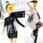 Womens Sexy One Shoulder Peacock Tassel Long Sleeve Cocktail Party Mini Dress