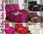 6pc Luxury Faux Silk Soft Touch Satin Duvet Cover Fitted Sheet Pillowcase Set