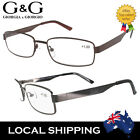 Designer Men Reading Glasses Spring Loaded Gun Brown +4.0 ONLY