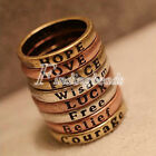 Fashion Hope Love Wisdom Peace Belief Courage Letter Rings Word Letter Wholesale
