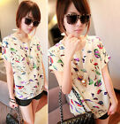Celeb Lady Blouse Vintage Bird Print Loose Fit Batwing Sleeve Chiffon Shirt Tops