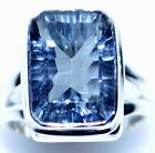 Emerald cut Mystic Blue Rings 925 Sterling SILVER Ring All Sizes 5½, L  to 12, Y