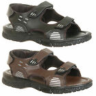Mens New Black / Brown Velcro Summer Sandals Size 6 7 8 9 10 11 Free Uk Postage