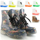 NEW WOMENS FLAT ANKLE WELLINGTON LOW LADIES CLEAR JELLY WELLIES BOOT SHOES SIZE