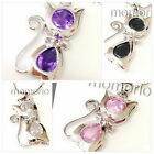 18K white gold plated animal pet cat Kitten sapphire cz Crystal pendant necklace