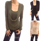Scoop Neck Drape Front Long Sleeve Ruched Crossover Hem Blouse Top