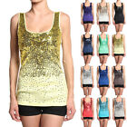 MOGAN Dazzling SEXY Sequin Ribbed Tank Top Hand-embellished Sleeveless Scoopneck