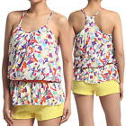 MOGAN Abstract Print Challis Skinny BELTED CAMI BLOUSE Sleeveless Woven Tank TOP