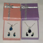 FASHION CRYSTAL STUD EARRINGS & PENDANT SET+ SILVER-COLOURED NECKLACE+GIFT BOX