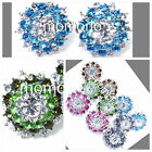white/gold plated clear Sun Flower round cocktail crystal studs earrings rainbow