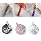 Agate / Rose Quartz /Tiger's Eye Pendulum Gemstone Bead Pendant Gems SP Necklace