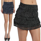 MOGAN Polka Dot TIERED RUFFLE MINI SKIRT Boho Vintage Printed Flirty Chiffon
